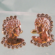 Exciting Greek Head Cufflinks with Marcasites in Sterling and 8K Pink Gold, Unusual!