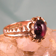 Stunning 9Ct Antique Victorian Garnet Ring, Hallmarked 1898