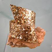 Huge Gold Confetti Lucite Clamper Bracelet, Brilliant