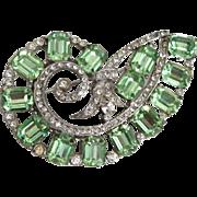 SALE Amazing Unmarked Pin / Brooch Emerald Cut Mint Green Peridot Rhinestones