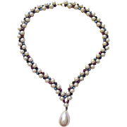 Faux Pearl Colored Cabochon Necklace