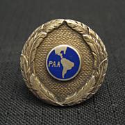 Vintage 1930's Pan American Sterling Enamel Hat Badge