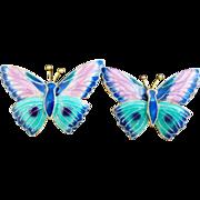 Vintage Sterling Silver Enamel Butterfly Earrings - Chinese Export