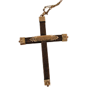 Victorian Mother Hair Mourning Cross Pendant Necklace Best