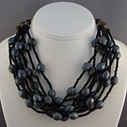SALE Carnival Glass Color Lava Rock Plastic Beads Torsade Necklace