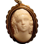 REDUCED Reduced Cameo pendant, Sardonyx, front facing young girl, sterling and gold setting vi