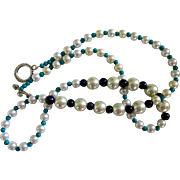 """REDUCED Reduced Artisan Original necklace, 30"""" long, Pearls, Turquoise and Black glass be"""