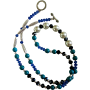 REDUCED Reduced Original artisan necklace, pearls, turquoise, black and blue crystals, silver