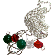 REDUCED Reduced Handcrafted wire cloud necklace, Silver wire wrapped in a fairy cloud, red, gr