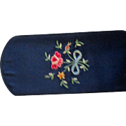 Two vintage glasses cases, red leather gold flour de lis, blue satin embroidered flowers: Ital