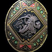 "SALE Reduced Damascene Toledo Spain inlay oval brooch.  Moorish 2"" across Gold black red"