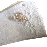 SALE Reduced White Ladies Beaded Gloves.50s-60s Exquisite beading 6-6  1/2
