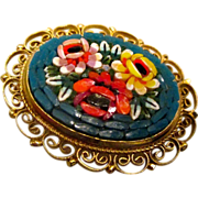 REDUCED Reduced Micro Mosaic Italian vintage brooch.  from 50s-60s, perfect condition