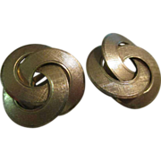 SALE Reduced Earrings Gold filled, Triple circle 120/12Kgf earrings,  vintage 60s