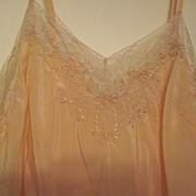 "SALE Reduced 1930's silk peach embroidered nightgown. ""Handmade for R. H. Macy's & Co."""