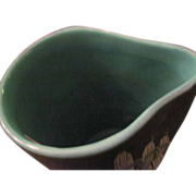 Reduced Midcentury contemporary pottery pitcher,  50s-60s, gorgeous high shine teal-aqua glaze