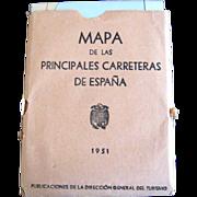 SALE Reduced Rare Mapa de Las Principales Carreteras de Espana map of Spain 1951