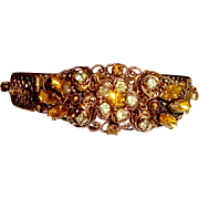 SALE Antique German Filigree Bangle Side Opening Topaz Paste Stones