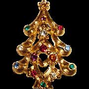 SALE Monet Brooch Christmas Tree Pin Open Metal Work Rhinestones