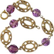 SALE Art Nouveau Czech Bracelet Purple Crystals Filigree Links