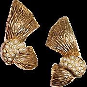 SALE Ledo Polcini Earrings Gold Ribbon White Seed Beads
