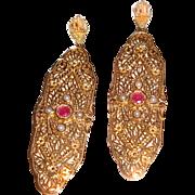 SALE Long Victorian Revival Earrings Sterling Vermeil Filigree
