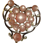 REDUCED Pink Heart Shape Moonglow Brooch