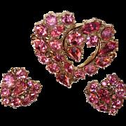 SALE Pink Heart Brooch Earrings Jewelry Set
