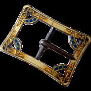 SALE Edwardian Sash Buckle Guilloche Enamel Sterling Silver Ornate