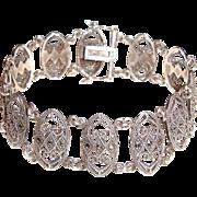 SALE Vintage Sterling Silver Bracelet Ovals Links Marcasites 925