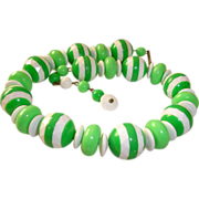 REDUCED Vintage Green Candy Striped Choker Necklace