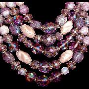 SALE Purple Art Glass Necklace Earrings Set Western Germany