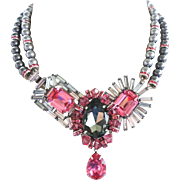 Grey Shadow & Rose Pink Swarovski Rhinestone Art Deco Necklace & Earrings by Elizabeth