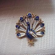 Vintage Trifari Enamel Peacock Pin Brooch