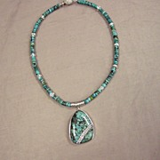 SOLD Turquoise Pendant with cubic zirconia Inlay    SALE!!  Was $225    NOW: $185 - Red Tag Sa