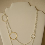 SALE Contemporary silver link and chain necklace with Earrings