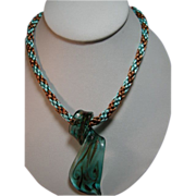 SOLD Venetian glass pendant on Kumihimo necklace