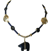 SOLD Sodalite Bear pendant with Lapis Lazuli Beads and silver bear separators