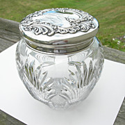 Howard Sterling Co – Crystal and Sterling – Humidor Tobacco Cookie Jar - RCB Monogram