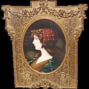 SOLD French Bronze Ribbon Frame W/ Victorian Miniature Portrait