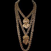 Crown Trifari Double Pendant Necklace Gold Tone