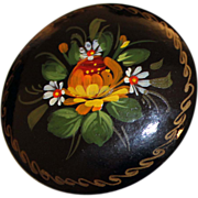 REDUCED Russian Initialed Lacquer Pin Floral Hand Painted