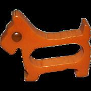 REDUCED Olive Amber Scotty Dog Bakelite Napkin Ring with Red Rodded Eye