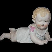REDUCED Vintage German Porcelain Bisque Piano Baby Figurine
