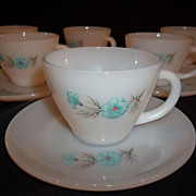 Fire King Bonnie Blue Cup & Saucer Sets – 6 sets available