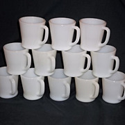 """Fire King White """"D"""" Handle Coffee Mugs -15 Available"""