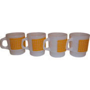 Fire King Anchor Hocking Yellow Gingham Coffee Mugs lot of 4