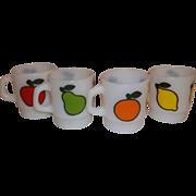 Anchor Hocking Fire King Set Super Fruit Stacking Mugs