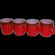 Fire King Red Stacking Mugs –Set of 4