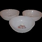 Fire King Fleurette Berry Bowls-Set of 3